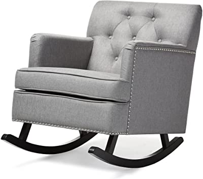 Groovy Amazon Com Baxton Studio Iona Tufted Wingback Rocker In Bralicious Painted Fabric Chair Ideas Braliciousco