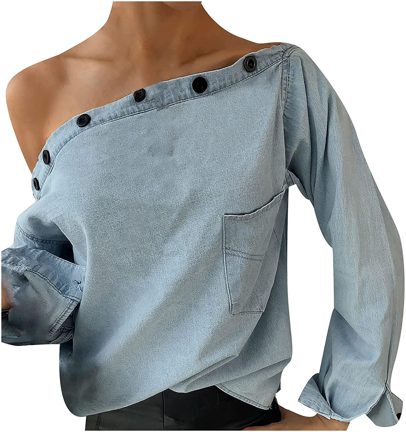 977 Sexy Women's Off Shoulder Tops Long Sleeved Button Denim T-Shirt Sweatshirts Solid Casual Loose Blouses