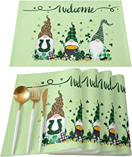 Gnome Happy St. Patrick's Day Placemats for Dining Table Set of 4 Washable Fabric Green Clover Shamrock Leaf Irish Gnome E...