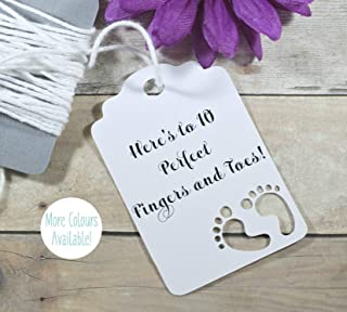 White Baby Shower Favor Tags - Neutral Thank You Favor Tags - Here's to 10 Perfect Fingers and Toes! (Set of 20)