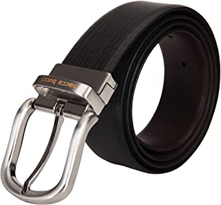 Bacca Bucci Men's Reversible Classic Dress Belt Italian Top Grain genuine leather black & brown with rotating Metal Buckle...