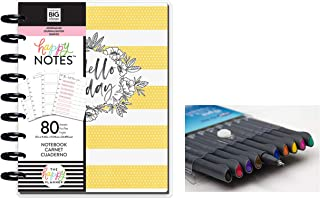 me & My Big Ideas: Medium/Classic Happy Notes Journal Planning and Comes with Kemah Craft 10 Pc Fineliner Color Pen (PBJR-01)