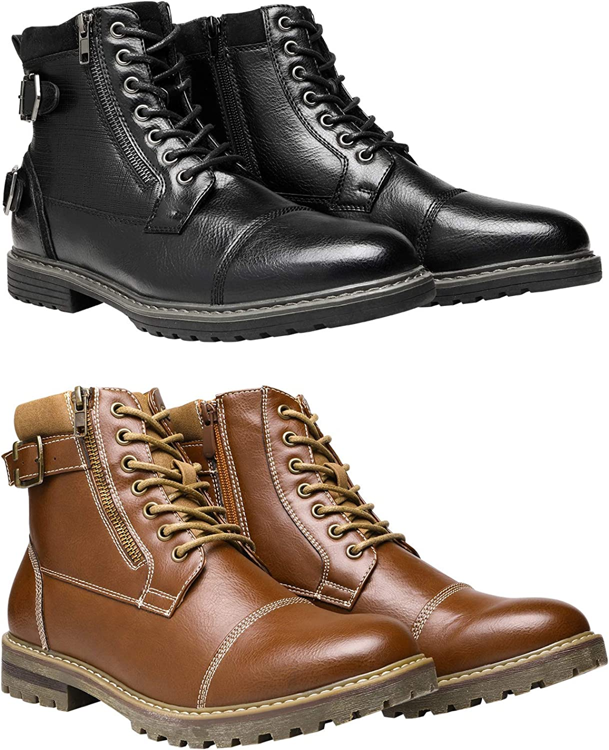 Bruno Marc Men's Motorcycle Boots Bundle with Men's Oxford Boots Size 10