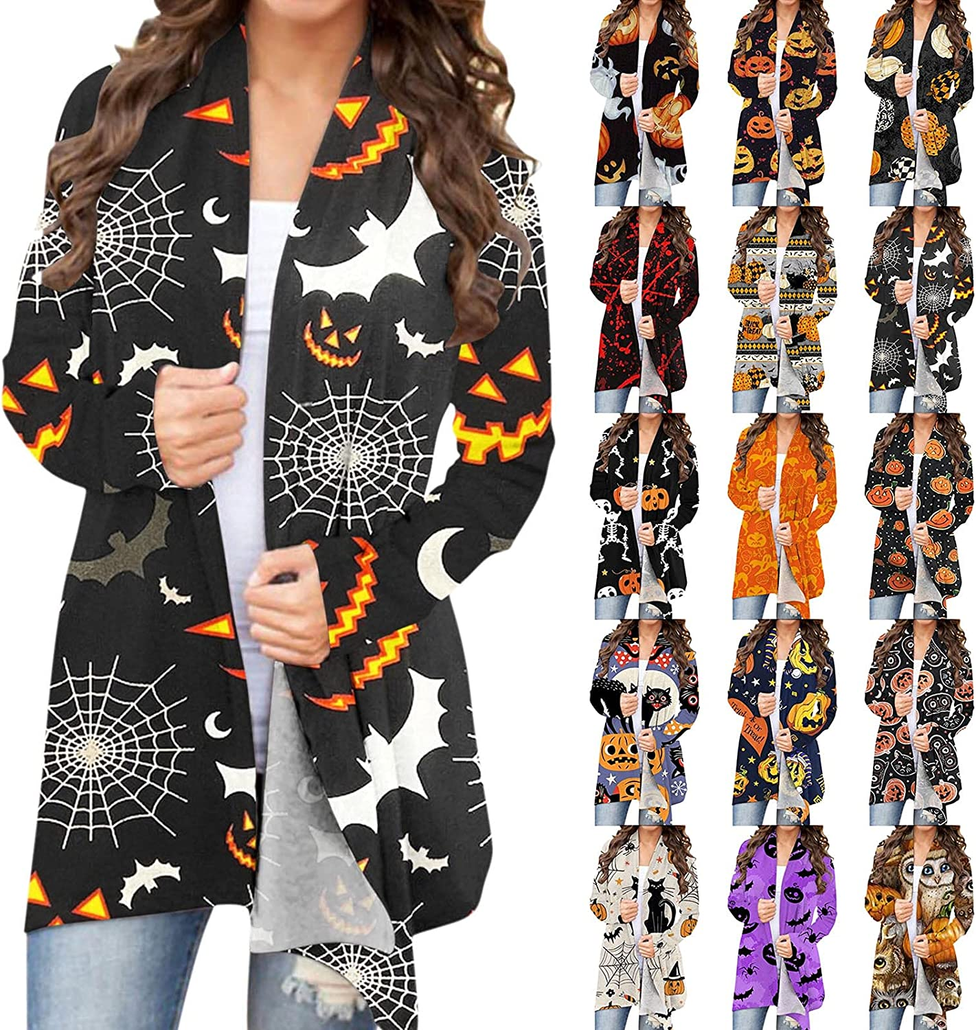 nunonette Open Front Cardigan for Women Long Sleeve Halloween Funny Cute Retro Pumpkin Letter Printed Knitted Sweater Jacket