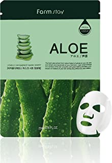 Farmstay Korean Aloe Hydration Facial Mask Sheet(Pack of 10) / Good for Dry and Dull Skin / Good for Soothing and Hydrating Description change to: