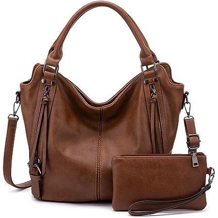 Realer Damen Handtaschen Mittel Shopper Lederhandtasche Schultertasche Umhängetasche Geldbörse Hobo Damen Taschen Set für Büro Schule Einkauf Reise 2pcs Braun