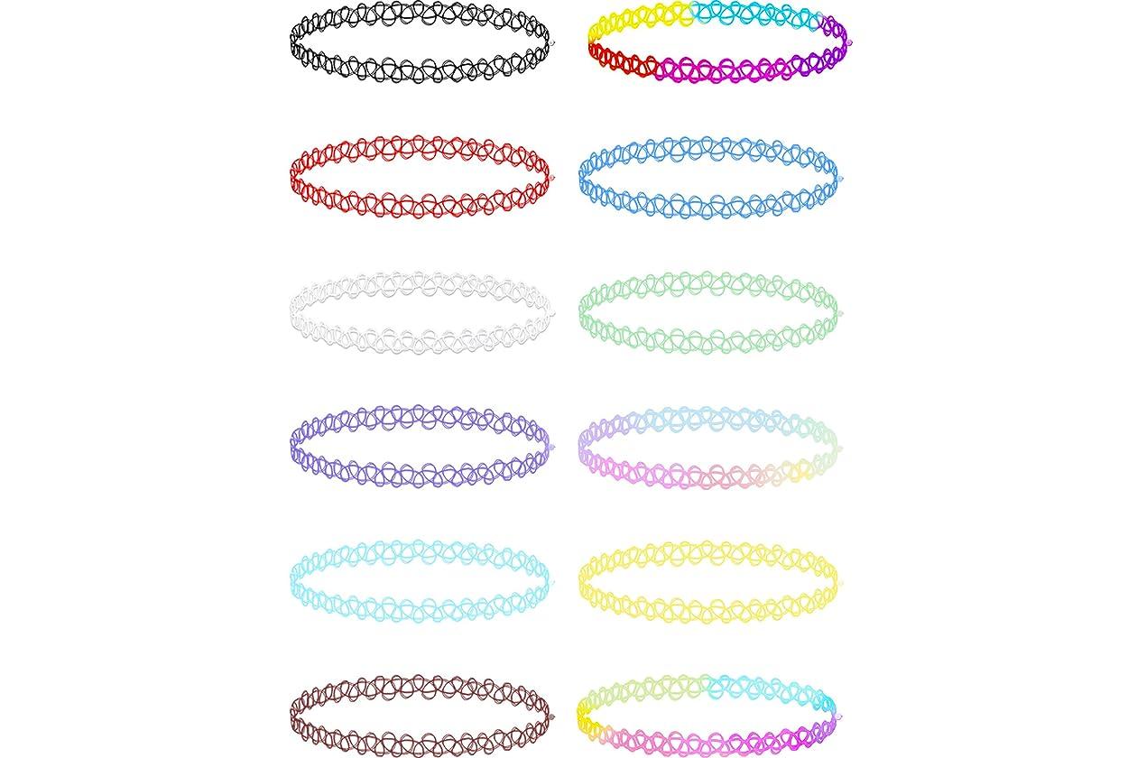 b64b35448 Mudder 12 Pieces Tattoo Choker Necklace Stretch Gothic Tattoo Henna Elastic  Choker Necklace Set