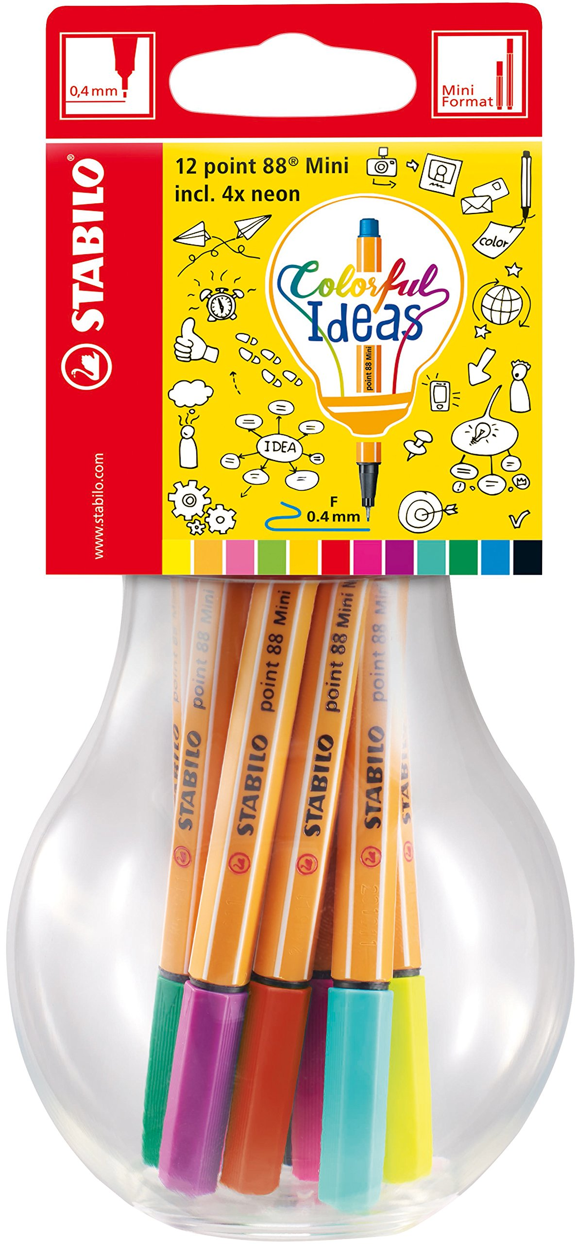Fineliner – STABILO point 88 Mini – Colorful Ideas – 12er Pack ...