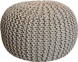 casamia gebreide poef poef zitpoef grof gebreide look Ø 55 cm extra hoog hoogte 37 cm Eén maat beige