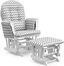 Storkcraft Premium Hoop Glider and Ottoman (White Base, Gray Chevron Cushion) – Padded Cushions with Storage Pocket, Smoot...