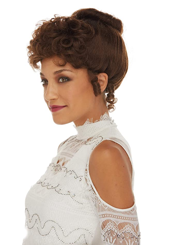 Gibson Girl Wig Color Brown - Sepia Costume Wigs Upsweep 20th Century Theater Youthful Women Sufferage Edwardian