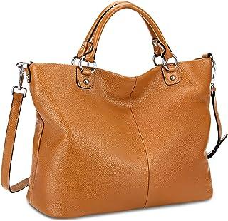 Kattee Bolso de piel suave con 2 correas desmontables, bolso asa superior para mujer, Bolso de mano de cuero, bolso de hom...