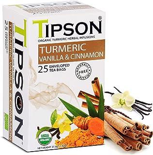 Tipson Organic Turmeric Caffeine Free Herbal Tea - Organic Cinnamon and Vanilla Flavor - 25 Foil Enveloped Double Chambere...