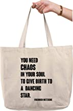 Need Chaos in Soul Birth Dancing Star Quote Nietzche Natural Canvas Tote Bag Funny Gift Bag