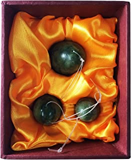 Jade Eggs Set of 3 for Training Pelvic Floor Muscles to Gain Bladder Control,with Instruction, Pre-drilled,Made of Natural Stone, Most Affordable Kegel Eggs Set