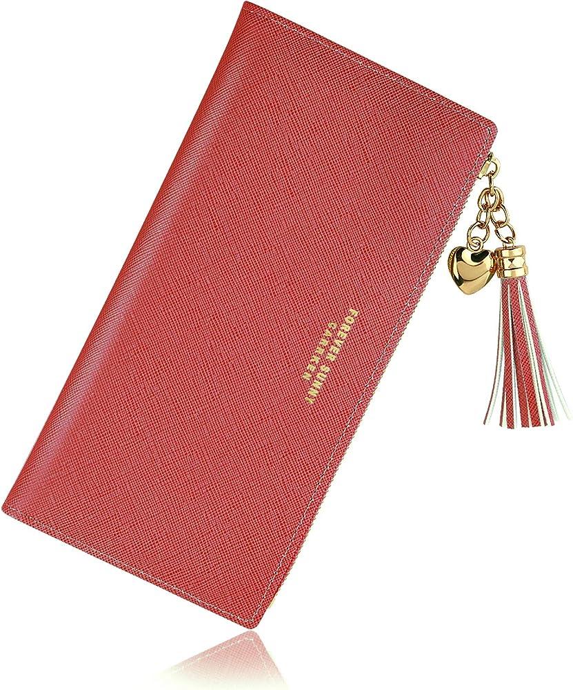 Fenrir portafoglio porta carte di credito in pelle sintetica per donna rosso