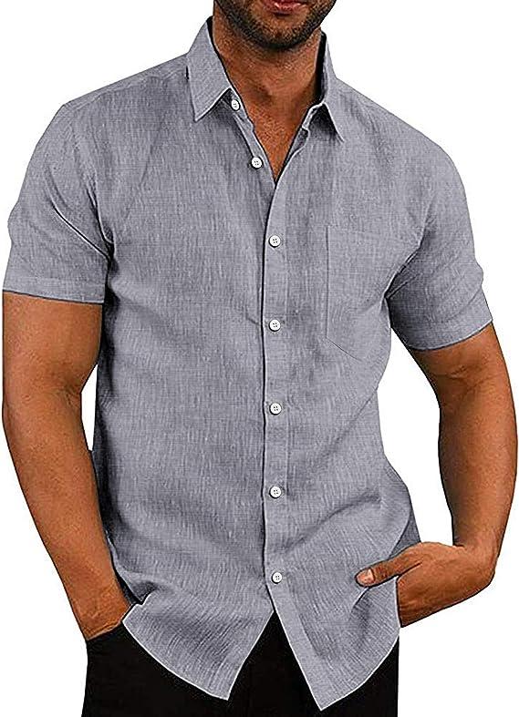 COOFANDY Camisa de hombre de manga corta para el tiempo libre, de negocios, de mezcla de algodón, para verano, monocolor