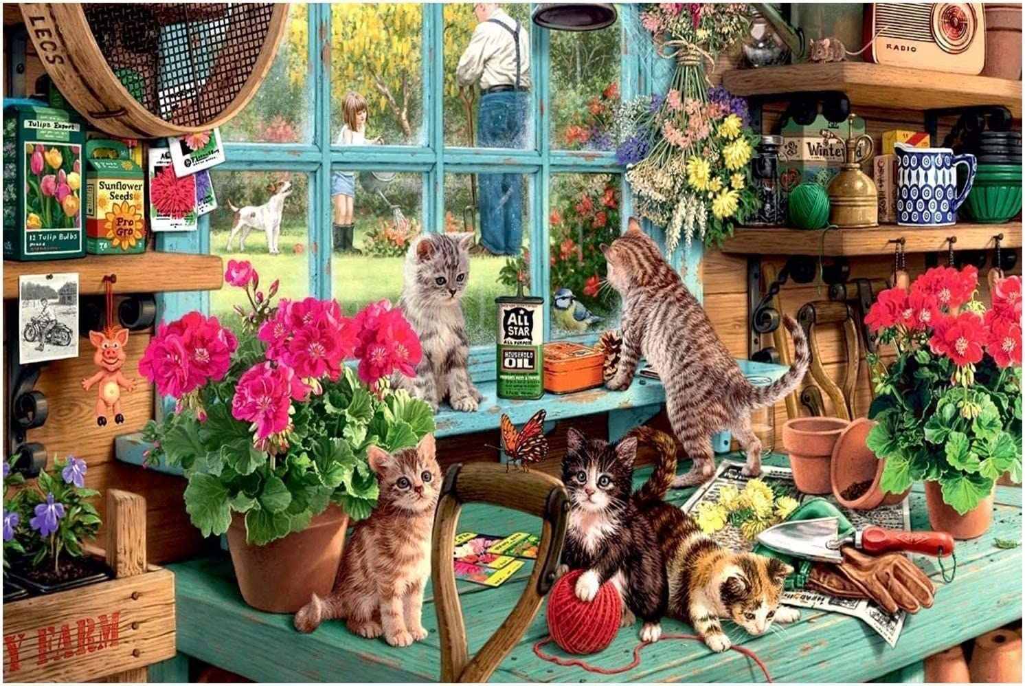 AILOTA Jigsaw Puzzles for Adults 1000 Piece The Cat by The Windowsill Large Puzzle Game for Adults,Educational Fun Jigsaw Toys for Kids