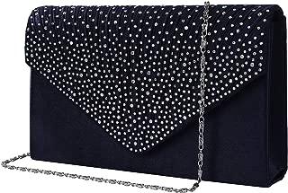Evening Clutch Bag, Envelope Handbag Purse Shiny Women Lady Rhinestone Embellished and Pleated Satin Clutch Wallet, Shoulder Cross Body Bag for Bridal Wedding Party, Dark Navy