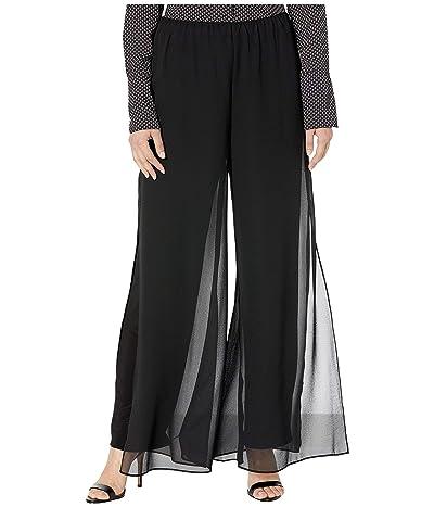 Alex Evenings Chiffon Straight Leg Overlay Pants (Black) Women