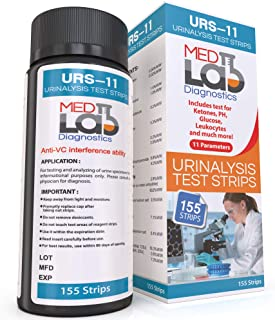 Urine Test Strips for Urinalysis 11 Parameters. 155 Cnt Reagent Test Strips for UTI, pH, Ketone, Protein, Kidney, Acidosis...