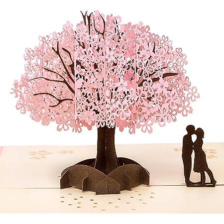 Biglietto d'Auguri Matrimonio Carta 3D Pop-up d'Amore per Compleanno Romantico e per la Festa della Mamma/Anniversario/Nozze