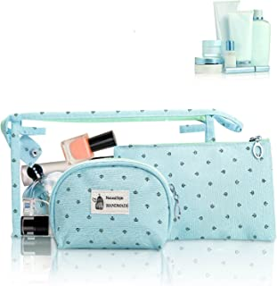 HOYOFO Portable Cosmetic Bags Set of 3 Different Sizes Makeup and Toiletry Pouch Purse Bag for Travel or Daily Use (Blue)