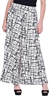 Fraulein Women's/Girls Palazzos Black Lines Print Crepe Flared Bottom Trendy and Stylish Palazzos with One Pocket and Mesh...