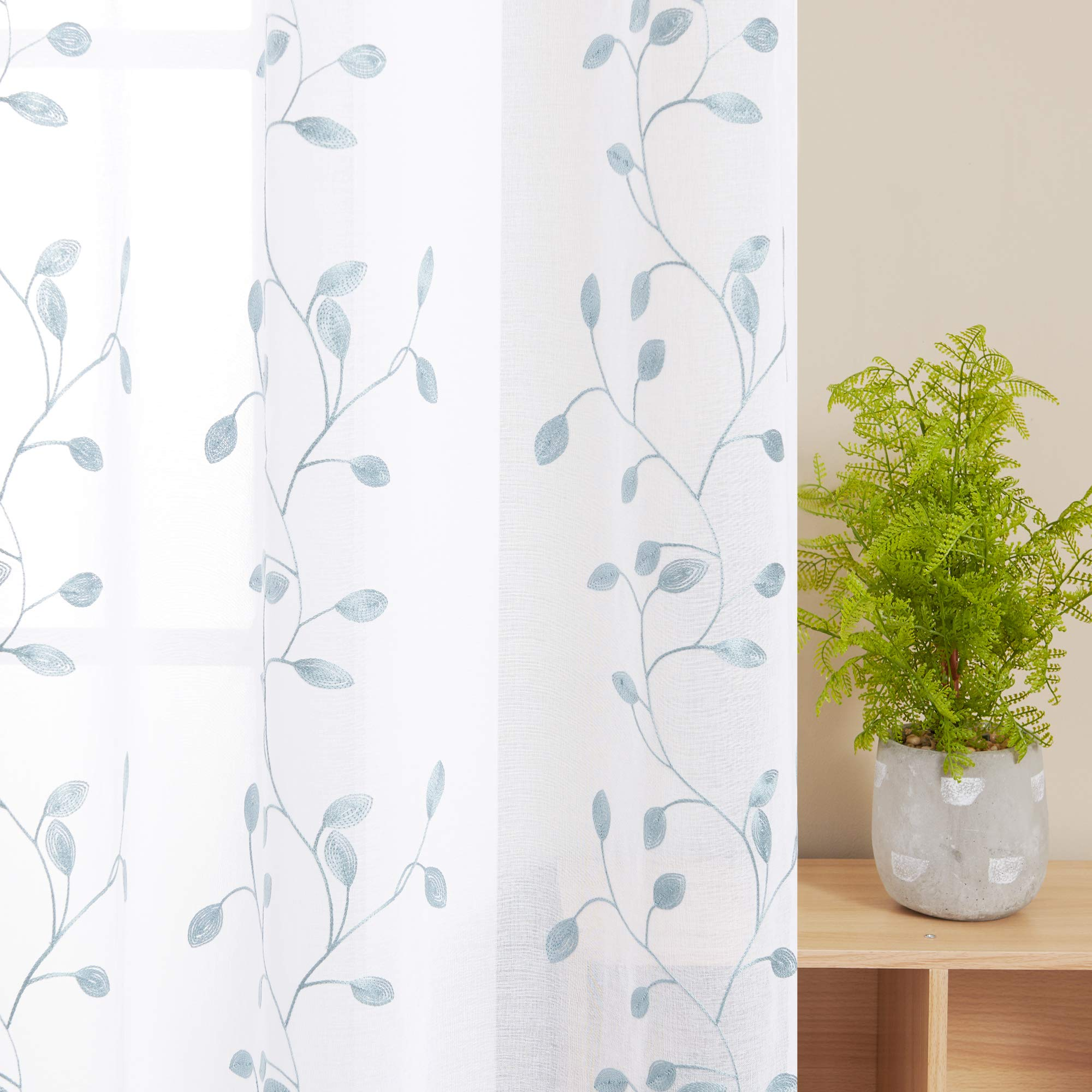 Deconovo Visillos Ventana Voile Decorativo Diseño Bonito Cortina Infantil Traslúcida para Sala de Estar Cocina 1 par 140 x 183 cm Azul Verde: Amazon.es: Hogar