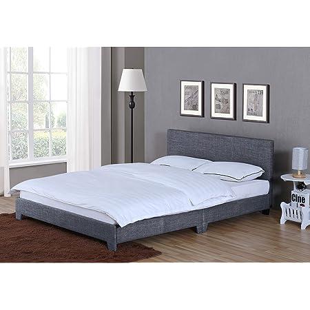 Home Discount Victoria Lit Double, lit Cadre de lit tapissé Tissu Tête de lit Chambre à Coucher Meubles, Gris foncé en Lin