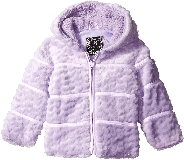 Ok Kids Baby Girls' Heart Quilt Jacket with Faux Fur Trim Hood