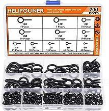 HELIFOUNER 200 Pieces 11 Sizes Black Zinc Plated Steel Screw Eyes Assortment Kit