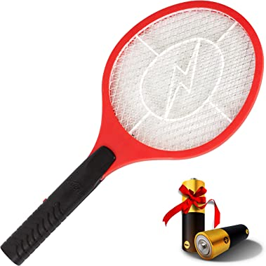 "ASISNAI Bug Zapper 18"" Electric Fly & Mosquito Swatter Racket - Outdoor/Indoor Killer for Flies, Battery-Operated Ten"