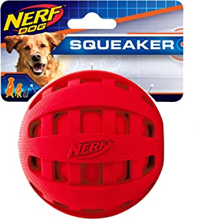 Nerf Dog Rubber Ball Dog Toy with Checkered Squeaker, Lightweight, Durable and Water Resistant, 4 Inch Diameter for Medium...