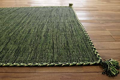 サヤンサヤン 手織り キリム調 アジアン ラグ マット キーマ 130x190 1.5畳 グリーン
