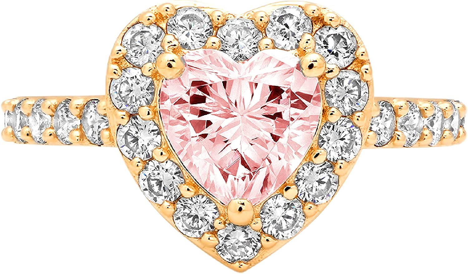 2.19ct Brilliant Heart Cut Solitaire with Accent Halo Pink Ideal VVS1 Simulated Diamond CZ Engagement Promise Statement Anniversary Bridal Wedding Ring 14k Yellow Gold