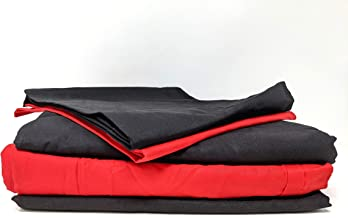 Tache Home Fashion BS4PC-BR-K 4 Pieces Soft Cool and Breathable Vibrant Bright Cotton Bed Sheet Set, King, Red
