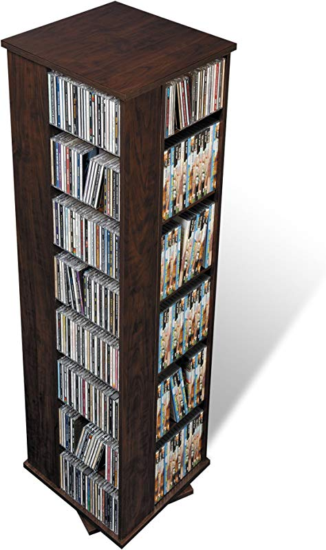 Prepac Large Four Sided Spinning Tower Storage Cabinet Espresso