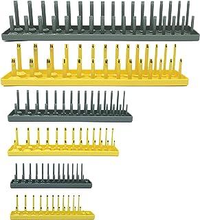 Colsen Socket Organizers 6 Piece Socket Tray Set | Metric & SAE Deep and Shallow Socket Organizers | Holds 80 SAE & 90 Met...