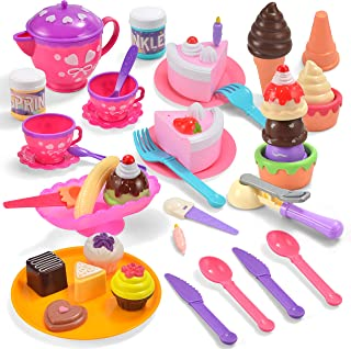 JOYIN Fancy Sweet Treats Desserts Ice Cream Parlor 44-Pieces Pretend Play Food Set for Toddler Kids for Educational Play, Classroom Activity, Holiday Toy Gifts