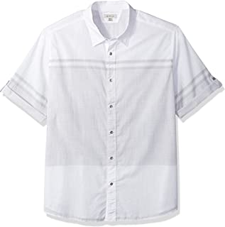 Calvin Klein Jeans Men's Short Sleeve Roll Tab Engineered Stripe Button Down Shirt