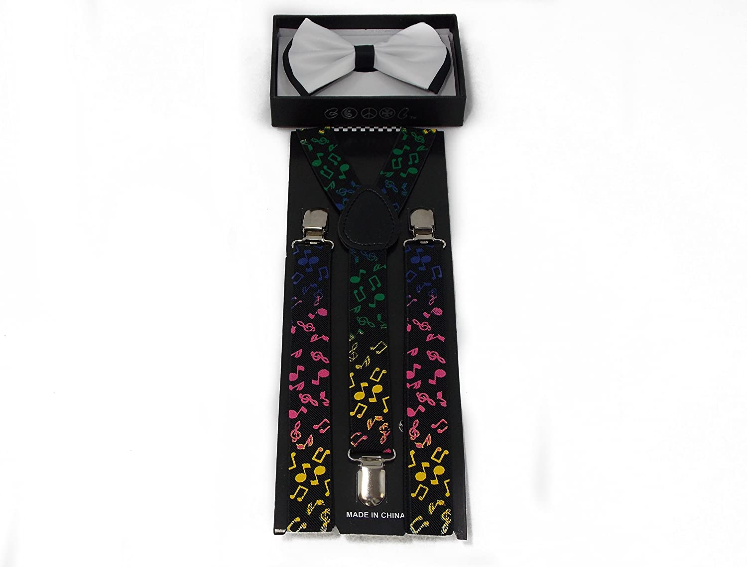 White with Black Accent Bow Tie and Colorful Music Note Suspender