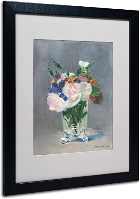 Amazon Com Flowers In A Crystal Vase Canvas Wall Art By Edouard Manet With Black Frame 16 By 20 Inch Framed Original Artwork Posters Prints