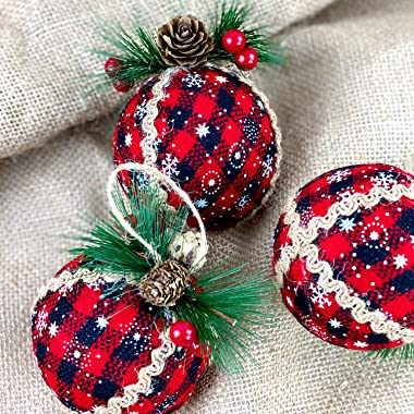 Iceyyyy 9PCS Christmas Plaid Ball Ornaments - 3 Inch Black & Red Buffalo Plaid Fabric Ball Ornaments with Pine Cones and