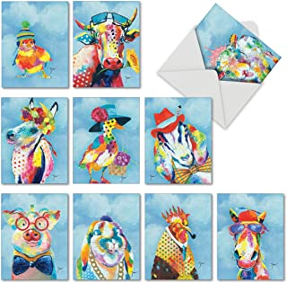 Funny Farm - 10 Assorted Painted Animals Cards 4 x 5.12 inch - Beautiful Funny Blank Note Cards or All Occasions -Cute, Colorful Wildlife Stationery with Envelopes (Box of 10) M6563OCBsl