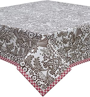 Freckled Sage Toile Brown Oilcloth Tablecloth with Pink Gingham Trim You Pick The Size
