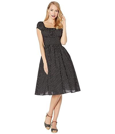 Unique Vintage Cap Sleeve Valencia Swing Dress (Black) Women