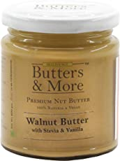 Butters & More Vegan Walnut Butter with Natural Vanilla Extract & Natural Stevia Extract (200G). Keto & Diabetic Friendly Nut Butter.