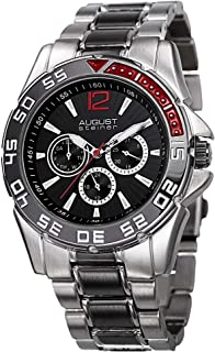 August Steiner Men's Black Dial Alloy Band Watch - AS8077SSB