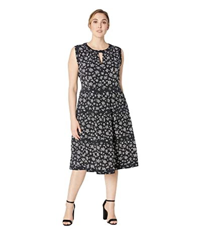 MICHAEL Michael Kors Plus Size Wildflower Mix Tier Dress (Black/White) Women